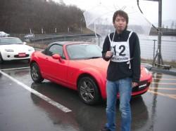 富士スピードウェイ、ドリフトコースにて満足するマッチャン